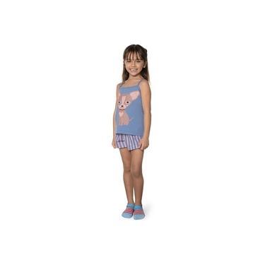 Pijama Curto Infantil Shortdoll Menina Dog DeMillus 220305 Azul Céu