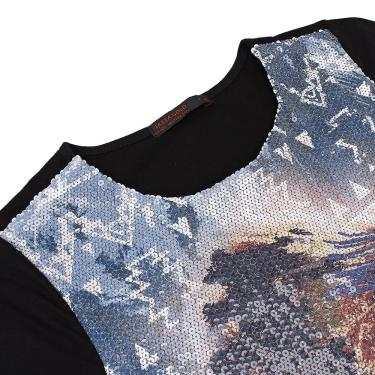Camiseta Preta Feminina Com Paetê Tassa Gold 21365