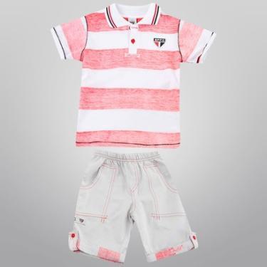 Conjunto São Paulo Camisa Polo e Bermuda Infantil - Masculino 9469b2ded51
