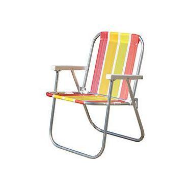 Cadeira de Praia Alumínio Amarela Varanda Alta - Botafogo Lar & Lazer
