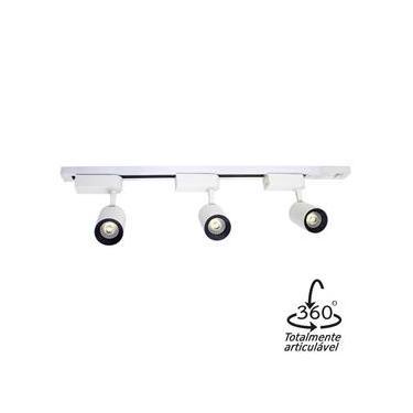 Kit 01 Trilho Eletrificado 60cm + 3 Spots Led 7w St499-Branco-Branco frio 6000k