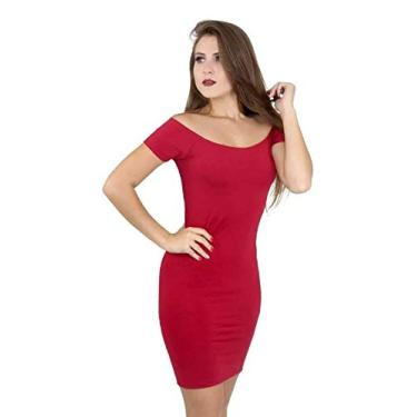 Vestido Feminino Ombro A Ombro Manga Curta. (Vermelho-Escuro, G)