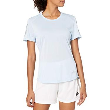 Adidas Camiseta de Corrida Feminina Own The Run, Glow Blue, Medium
