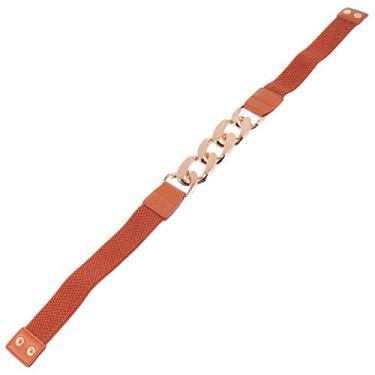 VALICLUD Cinto feminino elástico fivela de metal retrô stretch skinny cinto fino para acessório de vestido preto, Caqui, 70x4x0.2cm