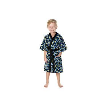 Roupão Infantil Lepper Quimono Aveludado Batman Azul PP
