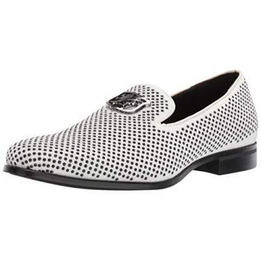 Sapato masculino Stacy Adams Swagger com enfeite sem cadarço estilo mocassim para dirigir, Black and White, 13
