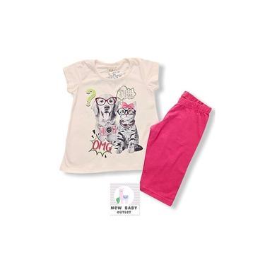 Conjunto Menina Blusa Off White com Silk Pets e Bermuda Ciclista de Cotton Pink