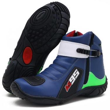 Imagem de Bota Motociclista Masculino Couro Conforto Macio Azul/Verde 42
