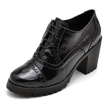 Bota Ankle Boot Feminina 100% Couro (40, Preto)
