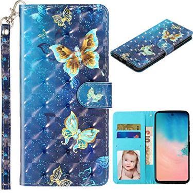 Capa carteira XYX para Samsung J7 2017 J727/Galaxy J7 V/J7Prime/J7 Perx/J7 Sky Pro/Halo, capa carteira de couro sintético colorida com compartimentos para cartão e alça de pulso, borboleta dourada azul
