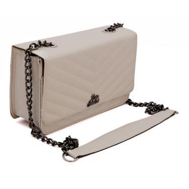 Bolsa clutch alça transversal de corrente Metalasse Livia Sabatini Off White  feminino