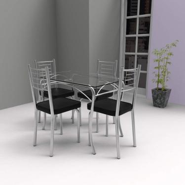 Imagem de Conjunto de Mesa Tampo Vidro Lion com 4 Cadeiras Aço Juliana Yescasa Cromado/Preto