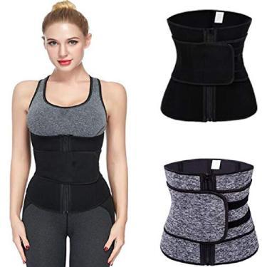 Imagem de Cinta modeladora feminina de neoprene para perda de peso, modelador de cintura, Preto S, S