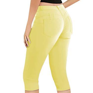 Calça jeans capri feminina Hybrid & Co. de 43 cm com elástico super confortável, Amarelo, 11