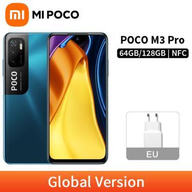Imagem de Celular poco m3 pro 5g, versão global, nfc, 6gb, 128gb/4gb, 64gb, 6.5 polegadas, fhd + 90hz,