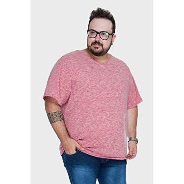 b91c8ff2fc Camiseta Gola V Mesclada Plus Size Vermelho-52 54