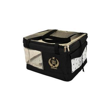 Bolsa Aerial São Pet Preta para Transporte de Cães e Gatos em Avião 43cm x 32cm x 24cm