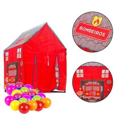 Imagem de Brinquedo Infantil Barraca De Bombeiro Vermelha 50 Bolinhas - Bang Toy