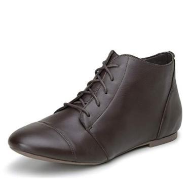 Bota Feminina Casual Confort Cano Curto Ankle Boot Cavalaria Cor:Marrom;Tamanho:35