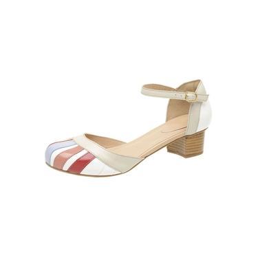 Sapato Boneca Feminino Retro De Couro Legitimo Branco Gelo