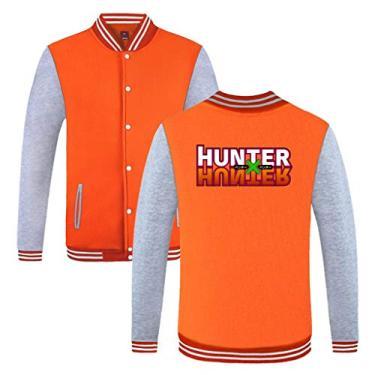 Jaquetas Hunter x Hunter – Jaqueta de beisebol masculina Cool Hunter x Hunter com botões, A - laranja, 4XL