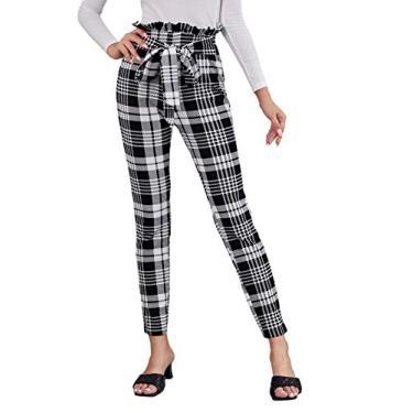 WDIRARA Calça legging feminina com estampa xadrez, cinto de amarração, macio, skinny, Cinza e branco, S