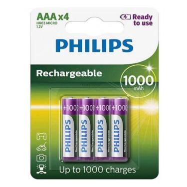 Pilha Recarregável Philips Aaa 1000mAh Palito com 4 Unidades Prontas p