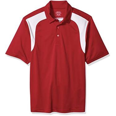 Imagem de Camisa polo masculina Ashe Xtream de manga curta e texturizada com ajuste regular Eperformance Colorblock, Classic Red, Medium