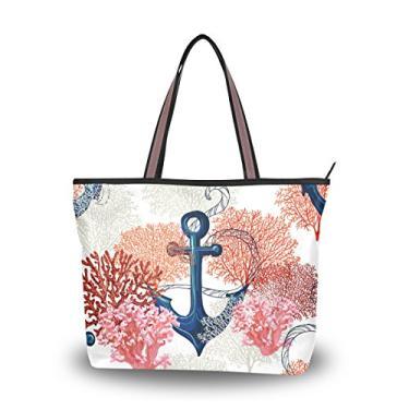 ColourLife Bolsa feminina com alça superior e âncora de coral, bolsa de ombro, Multicolorido., Large