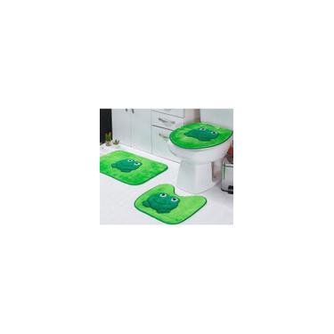 Imagem de Jogo de Tapetes Banheiro Sapo Verde Padrão 3 Peças