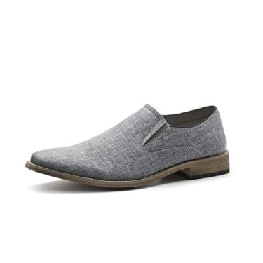 Caroto sapato masculino sem cadarço casual lona Oxford clássico mocassins, Cinza, 9