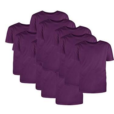 Kit com 10 Camisetas Básicas Algodão Violeta Tamanho GG