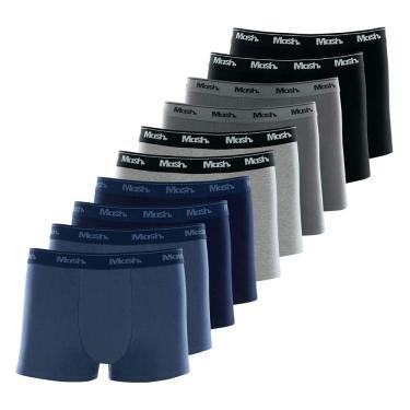 Cuecas boxer Boxer, Mash, Masculino, Azul Marinho/Azul Jeans Escuro/Cinza Chumbo/Cinza Mescla Claro/Preto, G