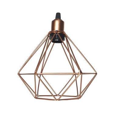 Luminária Lustre Pendente Aramado Diamante Luxo Pequeno Teto Retrô Cobre Agp Ilumini