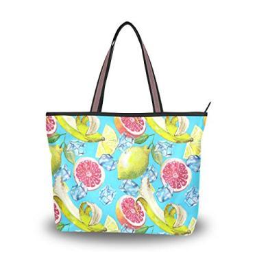 ColourLife Bolsa de ombro com alça superior de frutas com cubo de gelo, bolsa de ombro para mulheres e meninas, Multicolorido., Large