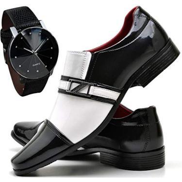 Imagem de Sapato Social de Verniz Preto e Branco Masculino + Relógio Luxo (39, PRETO/BRANCO)