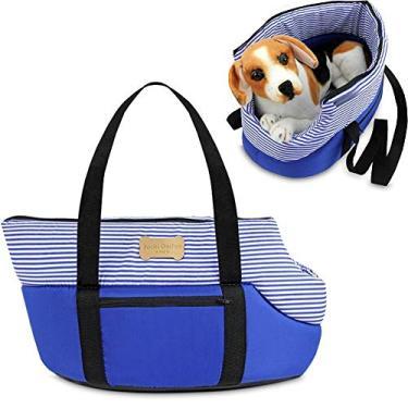Bolsa de Transporte para Cachorro e Gatos Passeio Pets Pequeno (Azul)