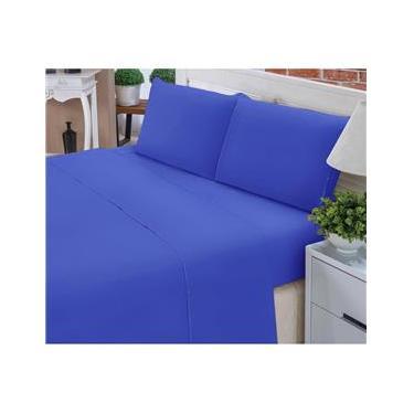 Imagem de Jogo de Lençol Casal Padrão Liso Pati 04 Peças Tecido Microfibra - Azul Royal