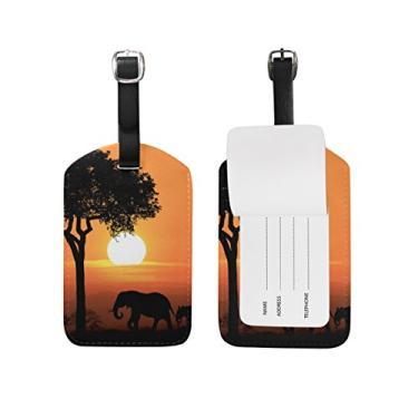 Etiqueta de bagagem Cooper Girl Sunset Africana Animal Bagagem Viagem Identificação Couro para Mala de Bagagem 1 Peça
