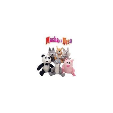 Imagem de 6 Pelúcia Amigos Da Masha E Urso Panda Porco Coelho Esquilo
