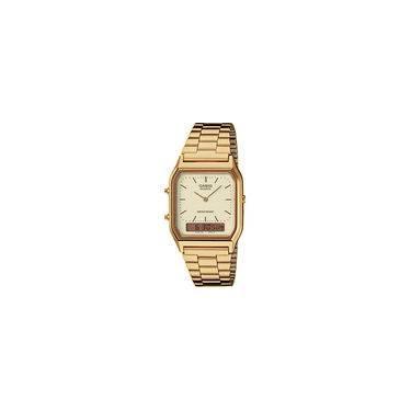 cbaa9c7da045 Relógio Casio Unissex Vintage Aq-230ga-9d Dourado Anadigi