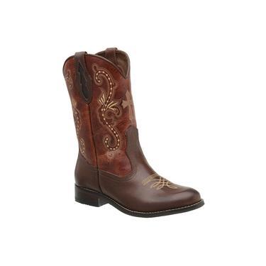 Bota Texana Femina Country Couro Legitimo Montaria Bico Redondo