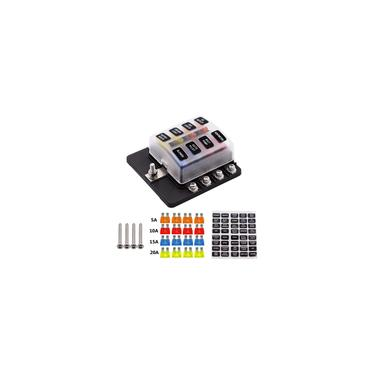 Imagem de 12 V 32 V 8 Way Fusível Caixa LED Indicador Luz Parafuso Ligação Pós Circuito Padrão Blade Block Titular com 16 Fusível Adesivo