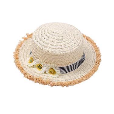 Chapéu de palha infantil para decoração de girassol ao ar livre chapéu de sol para crianças e meninas (bege)