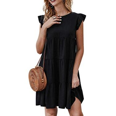 Jurebecia Vestido de senhora com mangas esvoaçantes saia verão estilo fofo jovem vitalidade,preto-XL