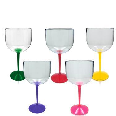 Kit 5 Taças Gin Colorida Acrílico Ano Novo