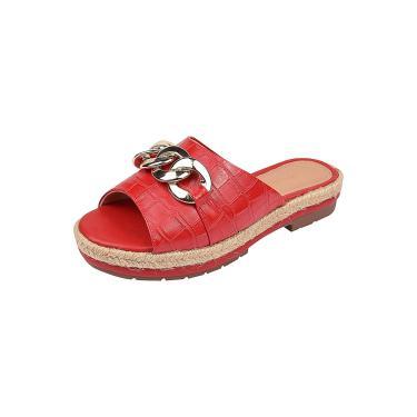 Imagem de sandália Chyrro calçados flatform croco vermelho  feminino
