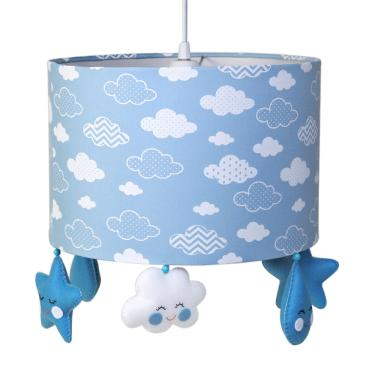 Lustre Tubular Chuva De Amor Azul Quarto Bebê Infantil