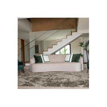 Tapete para Sala Luxo Confort Peludo Retangular Cinza Casen