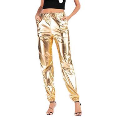 CRYYU Calça legging feminina de cintura alta hip hop metálica brilhante moletom jogger, Dourado, Medium